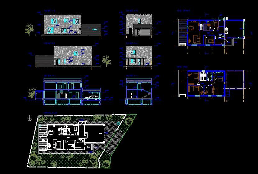 دانلود پروژه طراحی نقشه و پلان خانه ویلایی دو طبقه مدرن (18)
