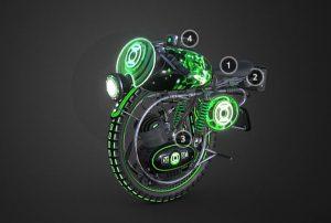 دانلود پروژه طراحی موتورسیکلت تک چرخ مونوبایک