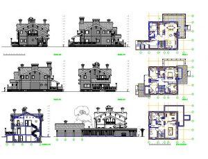 دانلود پروژه طراحی نقشه و پلان ویلای کلاسیک (19)