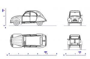 دانلود پروژه طراحی نقشه سه نمای خودرو سیتروئن ژیان