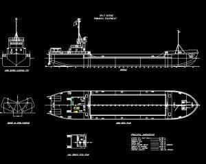 دانلود پروژه طراحی نقشه سه نمای کشتی لایروب