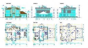 دانلود پروژه طراحی نقشه و پلان خانه ویلایی بزرگ (پر جمعیت) (20)