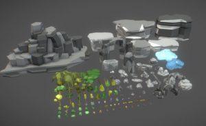دانلود پروژه طراحی انواع سنگ صخره درخت گل لوپولی