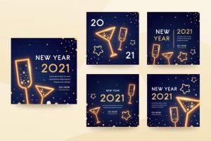 دانلود پروژه طراحی قالب لایه باز پست و استوری اینستاگرام جشن سال نو (1)