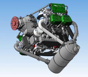 دانلود پروژه طراحی موتور هواپیما 4 سیلندر افقی rotax 912is