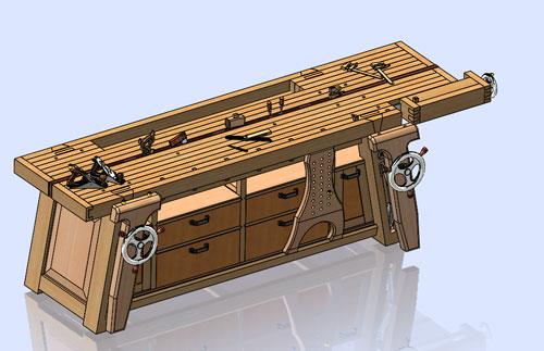 دانلود پروژه طراحی میز کار نجاری شیکر