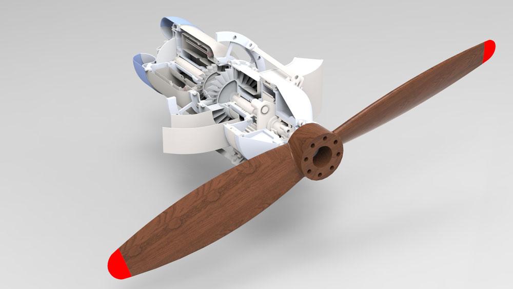 دانلود پروژه طراحی مینی موتور توربو جت kj-66 با پروانه