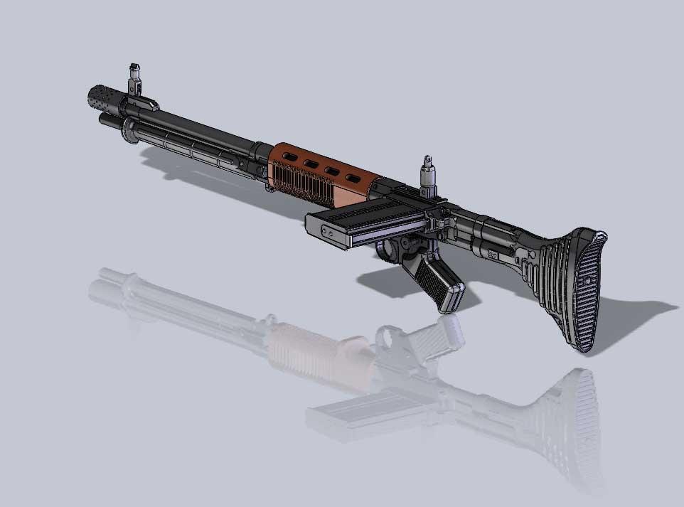 دانلود پروژه طراحی اسلحه مسلسل افژ FG 42