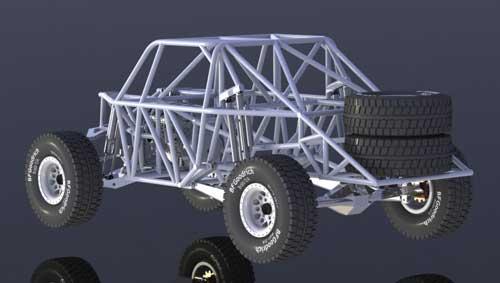 دانلود پروژه طراحی خودرو شاسی بلند اسپرت تروفی تراک Trophy truck