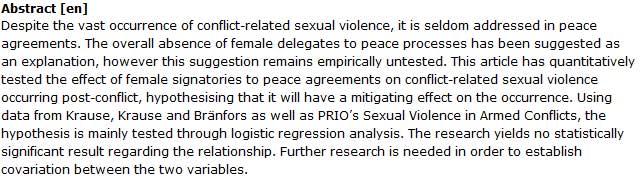 دانلود پایان نامه : بررسی خشونت جنسی علیه زنان در توافق نامه های صلح