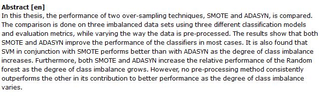 دانلود پایان نامه : بررسی نمونه گیری داده های نامتعادل به روش SMOTE و ADASYN