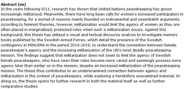دانلود پایان نامه : بررسی وظایف زنان در پروژه های نظامی سازمان ملل