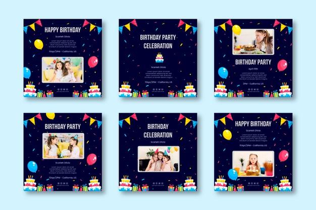 دانلود پروژه طراحی مجموعه قالب لایه باز استوری و پست اینستاگرام تولد و جشن