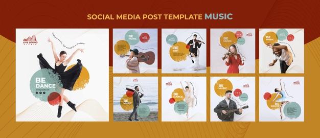 قالب لایه باز استوری و پست اینستاگرام موضوع : کنسرت کلاس آموزش موسیقی موزیک