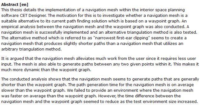 دانلود پایان نامه : بررسی اجرای جزئیات navigation mesh در نرم افزار CET Designer