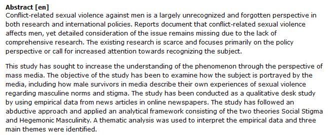 دانلود پایان نامه : بررسی بازتاب خشونت جنسی علیه مردان در رسانه های جمعی