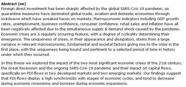 دانلود پایان نامه : بررسی بحران های اقتصادی قرن 21 و تأثیر آنها بر سرمایه گذاری خارجی
