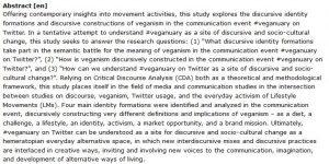 دانلود پایان نامه بررسی بینش معاصر در مورد فعالیت های جنبشی گیاهخواران در توییتر