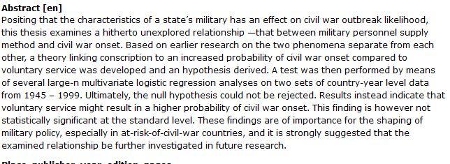دانلود پایان نامه : بررسی تأثیرات انتخاب روش تأمین پرسنل نظامی بر شروع جنگ داخلی