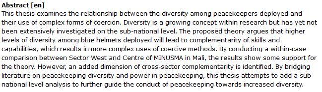 دانلود پایان نامه : بررسی تأثیر تنوع نیروهای حافظ صلح بر رفتار آنها