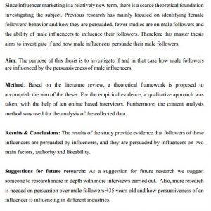 دانلود پایان نامه : بررسی تاثیر اینفلوئنسر های مرد بر فالوورهای مرد در بازاریابی تأثیرگذار