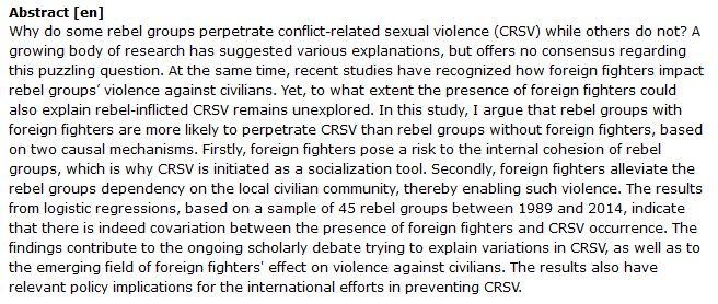 دانلود پایان نامه : بررسی تاثیر حضور جنگجویان خارجی بر وقوع خشونت های جنسی