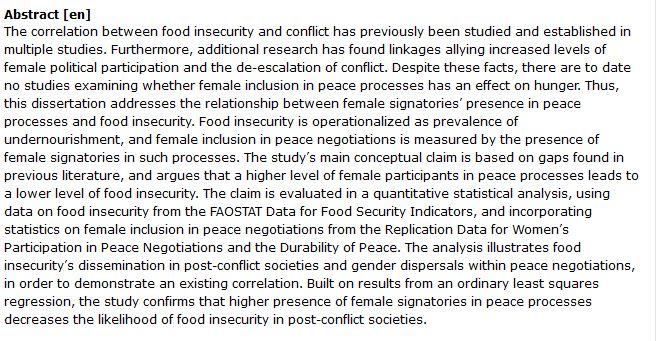 دانلود پایان نامه : بررسی تاثیر حضور زنان در روند مذاکرات صلح و امنیت غذایی