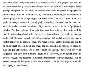 دانلود پایان نامه : بررسی تاثیر فوتبال بر ادغام اجتماعی پناهندگان