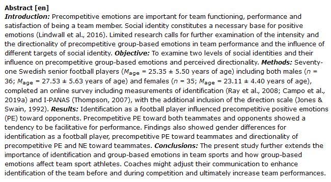 دانلود پایان نامه : بررسی تاثیر هویت اجتماعی و احساسات بازیکنان فوتبال بر عملکرد تیم در رقابت ها