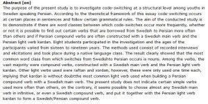 دانلود پایان نامه : بررسی تغییر زبان (کد سوئیچینگ) در بین جوانان فارسی زبان در سوئد