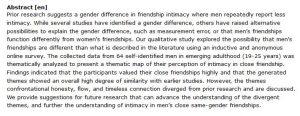 دانلود پایان نامه : بررسی توصیفات مردان جوان از نظر صمیمیت در دوستی با سایر مردان