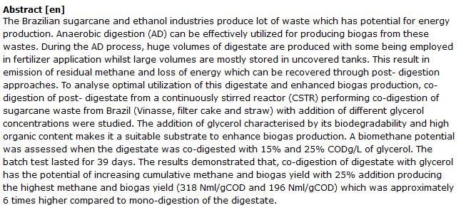 دانلود پایان نامه : بررسی تولید بیوگاز به روش AD از زباله صنایع نیشکر