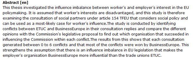 دانلود پایان نامه : بررسی جایگاه اتحادیه های کارگری در سیاست گذاری های اتحادیه اروپا