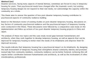 دانلود پایان نامه : بررسی جنبه های روانی - اجتماعی مسکن موقت بر تاب آوری اجتماعی