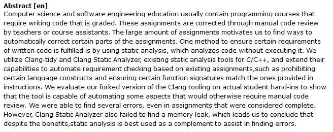 دانلود پایان نامه : بررسی خودکار تکالیف برنامه نویسی با روش آنالیز استاتیکی