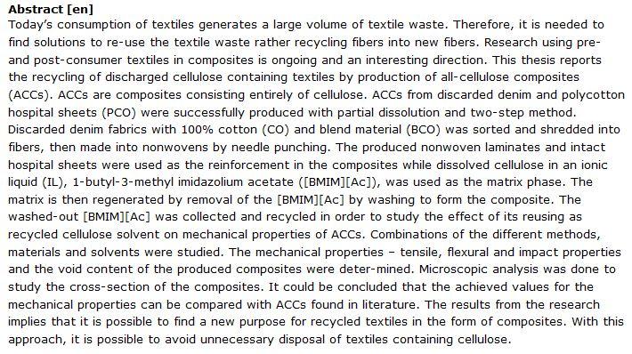 دانلود پایان نامه : بررسی روش جدید بازیافت پسماند و زباله های نساجی به عنوان کامپوزیت های تمام سلولزی (ACCs)