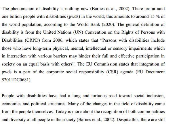 دانلود پایان نامه : بررسی سهم معلولین در استخدام سازمان ها و امکان راه اندازی کسب و کار