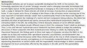 دانلود پایان نامه : بررسی صنعت استخراج ماده معدنی استراتژیک کبالت با توجه به چشم انداز ژئوپلیتیک