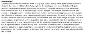 دانلود پایان نامه : بررسی علل اضطراب دانش آموزان در کلاس درس زبان انگلیسی و راهکارهای معلمان برای کاهش آن