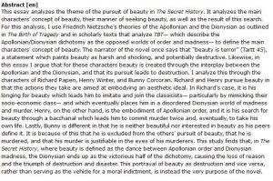 دانلود پایان نامه : بررسی مفاهیم زیبایی در کتاب رمان تاریخ سری Donna Tartt's The Secret History