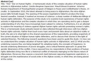 دانلود پایان نامه : بررسی هرمنوتیکی وضعیت پیچیده فعالان حقوق بشر در افغانستان