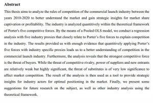 دانلود پایان نامه : تجزیه و تحلیل صنعت راه اندازی تجاری و قوانین رقابت کسب و کارها