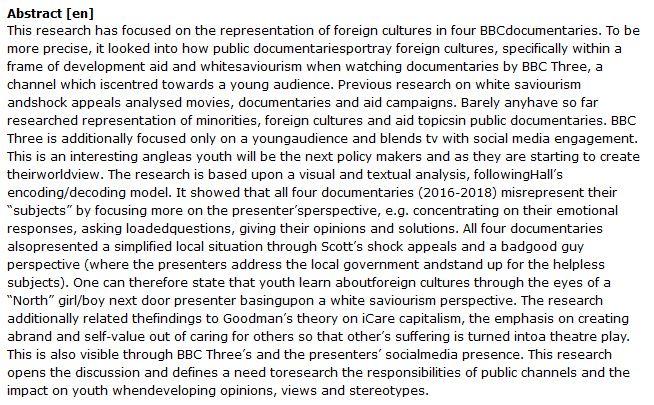 دانلود پایان نامه : تجزیه و تحلیل مستند های BBC در مورد فرهنگ های خارجی