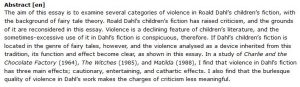 دانلود پایان نامه : تحلیلی درباره استفاده رولد دال Roald Dahl از خشونت در کتاب داستان های کودکان