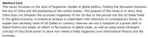 دانلود پایان نامه : تحلیل آماری هژمونی اقتصادی آمریکا و تهدید بالقوه چین در نظام اقتصاد بین الملل