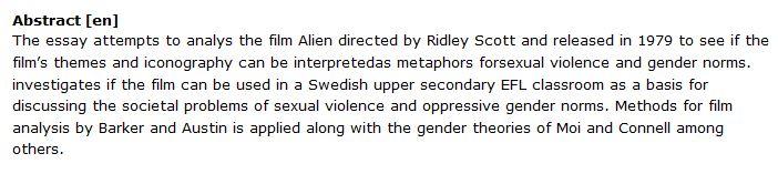 دانلود پایان نامه : تفسیر استعاره های خشونت و هنجارهای جنسیتی در فیلم Alien 1979