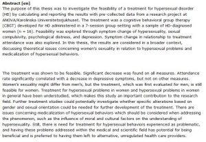 دانلود پایان نامه : رفتار درمانی شناختی گروهی (CBGT) اختلال بیش فعالی جنسی (HD) زنان