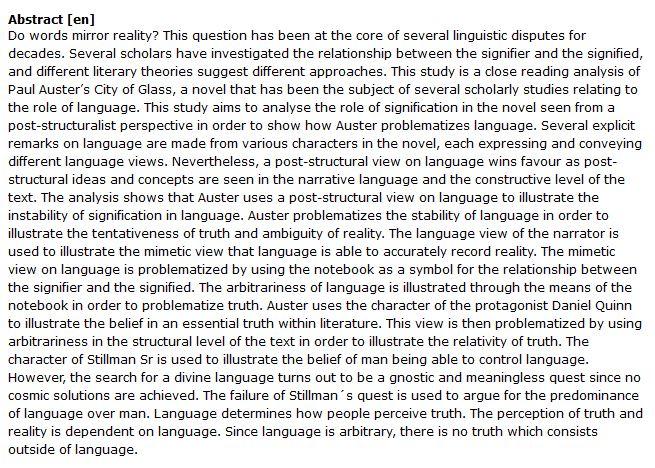 دانلود پایان نامه : رویکرد پساساختارگرایی به نظریه زبان در کتاب رمان شهر شیشه ای پل استر