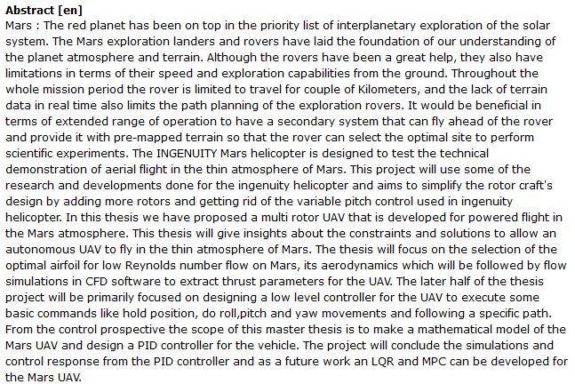 دانلود پایان نامه : طراحی ، مدل سازی و کنترل یک پهپاد فضایی مریخ نورد
