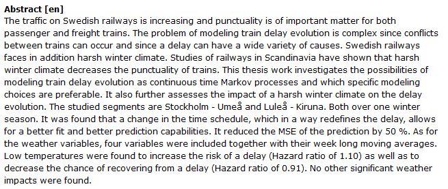 دانلود پایان نامه : مدل سازی تأخیر قطارها در زمستان با روش زنجیره مارکوف